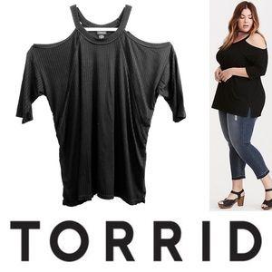 TORRID Ribbed Cold Shoulder Top 0X